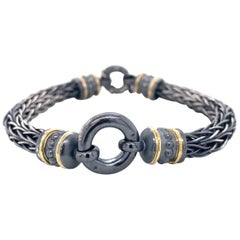 Sterling Silver and 18 Karat Yellow Gold Roman Chain Bracelet