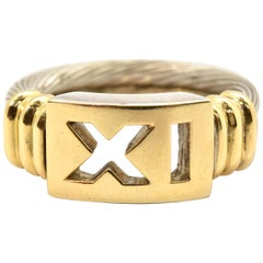 Sterling Silver and 18 Karat Yellow Gold 'XI' or 'IX' Ring
