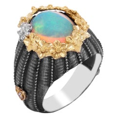 Sterling Silver and 18K Gold Floral Ring with Ethiopian Opal Center Diamonds