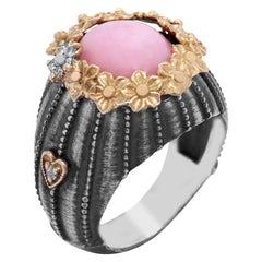 Sterling Silver and 18K Gold Floral Ring with Pink Peruvian Opal Center Diamonds
