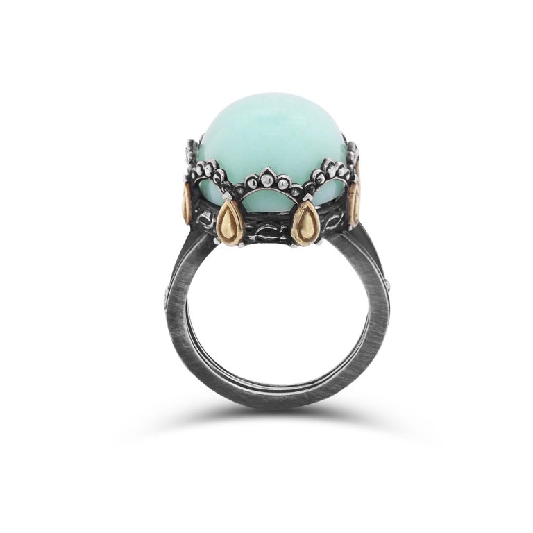 Oval Cut Sterling Silver and 18 Karat Gold Oval Dome Ring with Chrysophrase Center For Sale