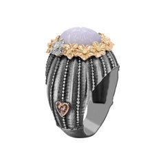 Sterling Silver and 18k Gold Ring with Carved Grey Moonstone Center Diamonds