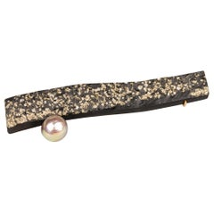 Sterling Silver and 18 Karat Slate and Pyrite Brooch with a Freshwater Pearl