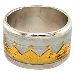 Sterling Silver and 22 Karat Yellow Gold Leaf Crown Ring