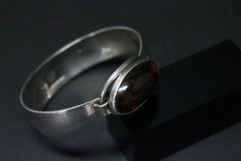 Sterling Silver and Amber Nils Erik Denmark 1960s Bracelet For Sale 2