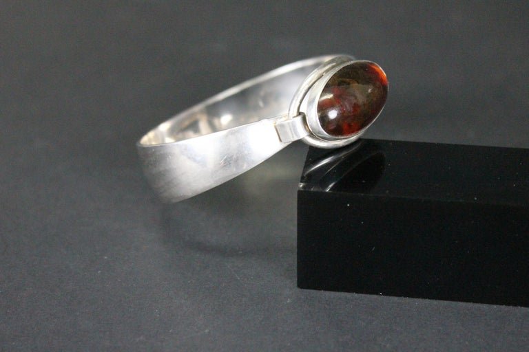 Sterling Silver and Amber Nils Erik Denmark 1960s Bracelet For Sale 4