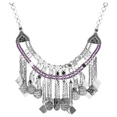 Sterling Silver and Amethyst Beaded Calligraphy Fringe Charms Necklace