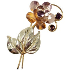 Sterling Silver and Amethyst Crystal Flower, Mid 1900s