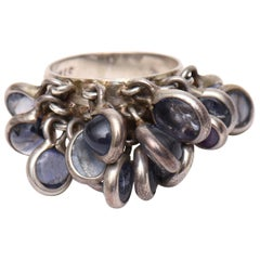 Sterling Silver and Amethyst Dangler Cluster Disk Ring