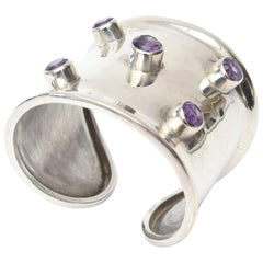 Sterling Silver and Amethyst Hallmarked Modern Cuff Bracelet