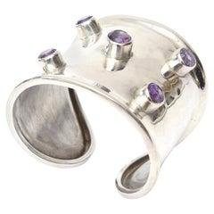 Sterling Silver and Amethyst  Modern Cuff Bracelet Hallmarked