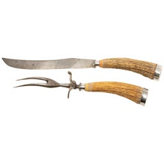 Sterling Silver and Antler Handle Carving Set