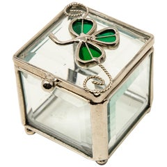 Sterling Silver and Beveled Glass Trinket Box with Clover
