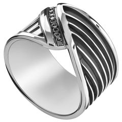 Sterling Silver and Black Diamond Men's Wings of the Protector Ring