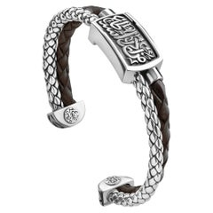 Sterling Silver and Braided Leather Men's Warrior Band Bangle