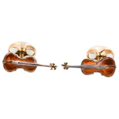 Sterling Silver and Brown Enamel Violin Cufflinks