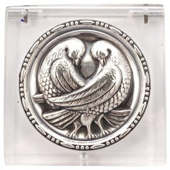 Sterling Silver and Clear Lucite Pair of Doves Powder Compact