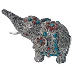Sterling Silver and Color Stone Inlay Elephant Probably Chinese, circa 1950