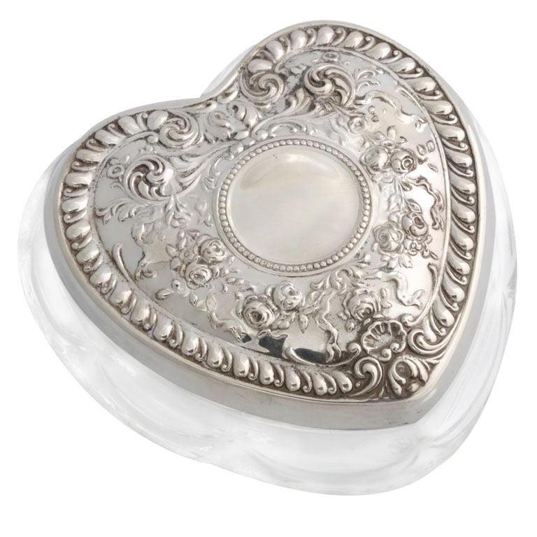 """Sterling Silver and Crystal Heart, Shaped """"Trinkets"""" Box For Sale"""