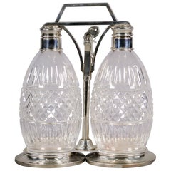 Sterling Silver and Crystal Two Bottle Tantalus Set, 20th Century