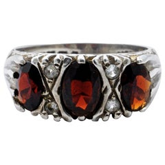 Sterling Silver and Dark Red Garnet Trilogy Ring with Clear Rhinestones 1970s