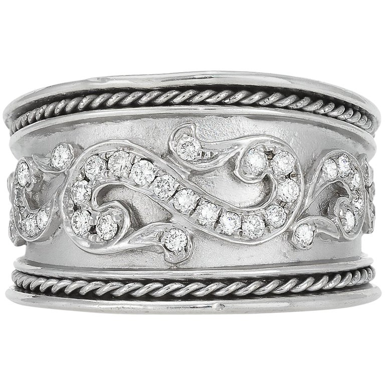 Sterling Silver and Diamond Band For Sale
