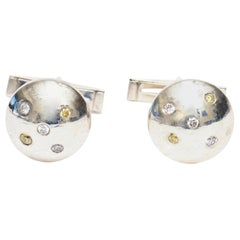 Sterling Silver and Diamond Jeweler Made Pair of Dome Cufflinks