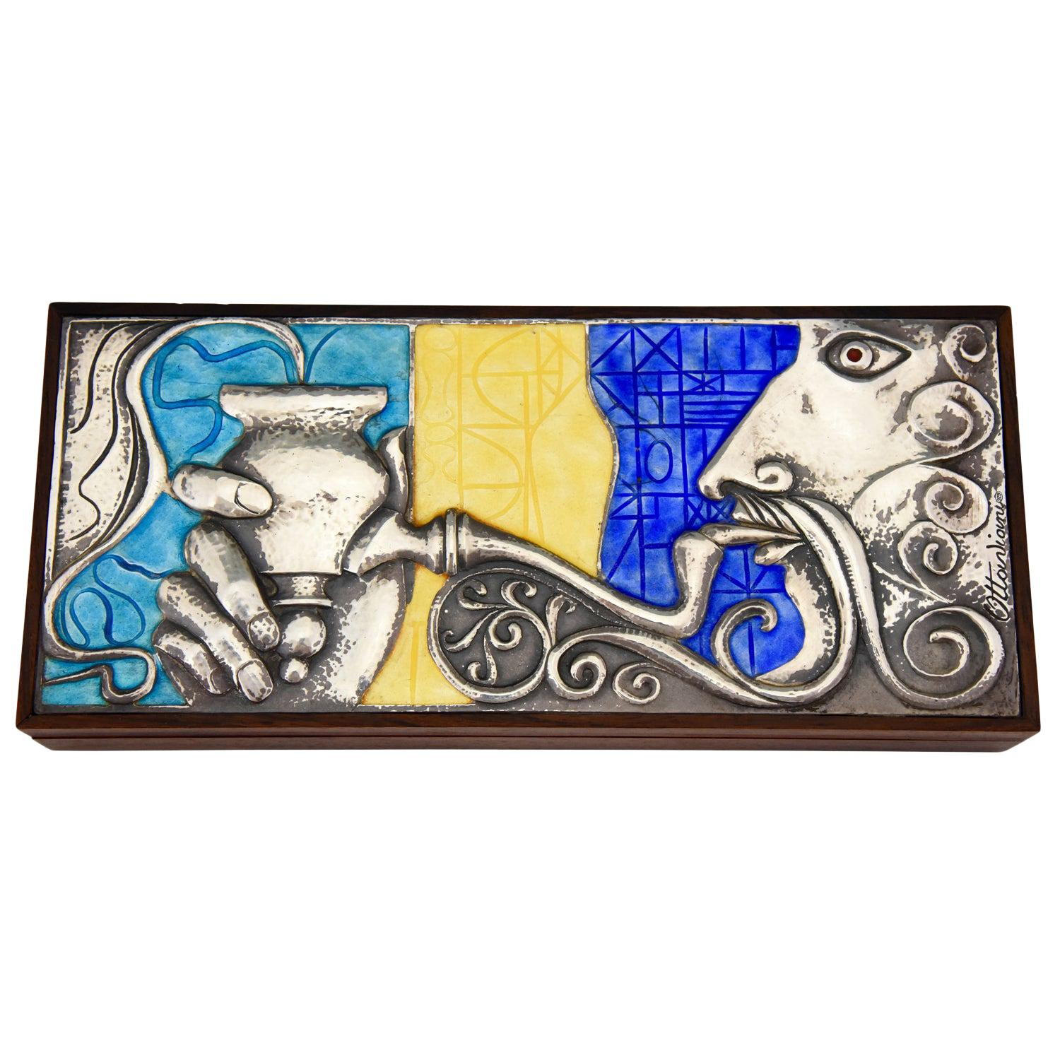 Sterling Silver and Enamel Box with Man Smoking Water Pipe Ottaviani Italy, 1960