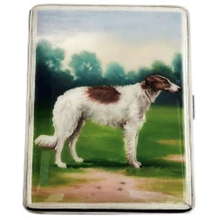 Sterling Silver and Enamel Cigarette Case 1928 Borzoi Hunting Dog