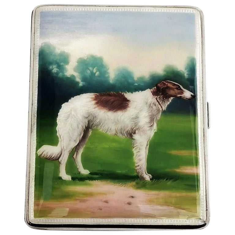 Sterling Silver and Enamel Cigarette Case 1928 Borzoi Hunting Dog For Sale