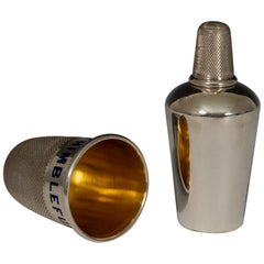 Sterling Silver and Enamel Thimble Spirit Flask, Hallmarked 1876