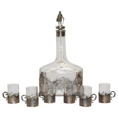 Sterling Silver and Engraved Crystal Decanter with Cordial Cups