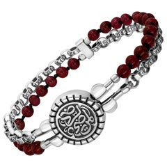 """Sterling Silver and Garnet Beaded """"Contentment"""" Calligraphy Bracelet"""