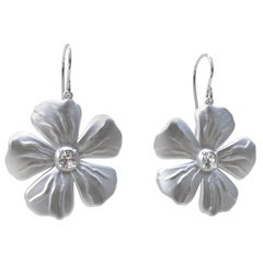 Sterling Silver and GIA Diamond Periwinkle Flower Earrings