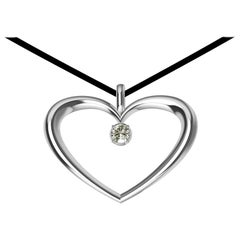 Sterling Silver and GIA Diamond Polished Tapered Heart Necklace