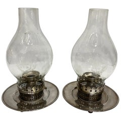 Sterling Silver and Glass Pair of Candle Holders
