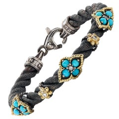 Sterling Silver and Gold Bracelet with Sleeping Beauty Turquoise Stambolian