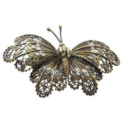Sterling Silver and Gold Filigree Butterfly Brooch
