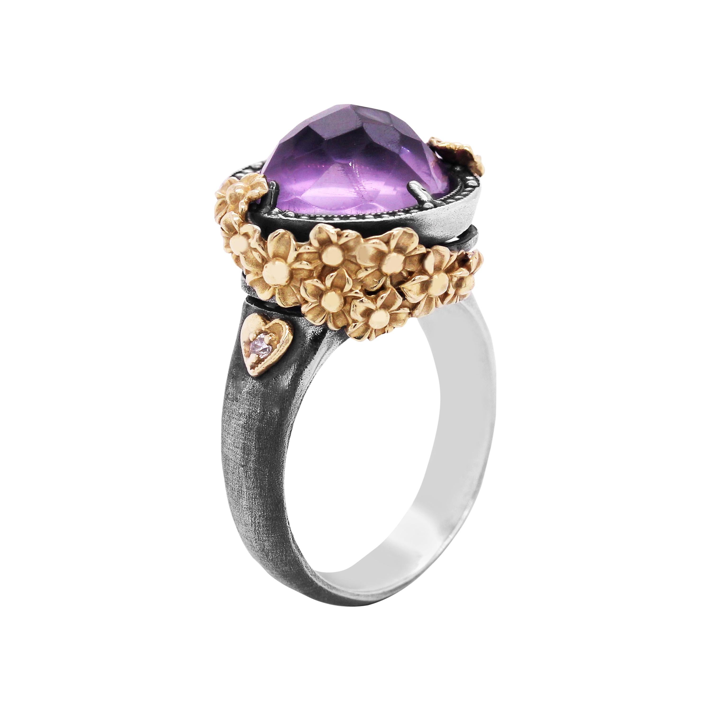 Sterling Silver and Gold Rose Ring with Amethyst Center
