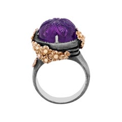 Sterling Silver and Gold Rose Ring with Floral Carved Amethyst Center