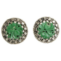 Sterling Silver and Green Jade Pierced Button Earrings