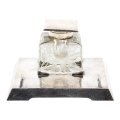 Sterling Silver and Intaglio Crystal Inkwell