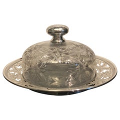 Sterling Silver and Intaglio Cut Glass Butter Dish