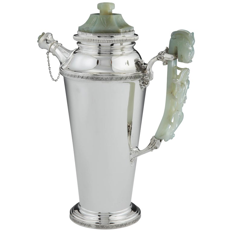 Sterling Silver and Jade Cocktail Shaker by Yamanaka, circa 1925 For Sale