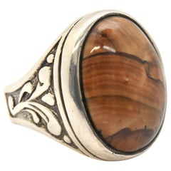 Sterling Silver and Landscape Agate Mans Fashion Ring 31.76 Grams