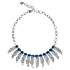 Sterling Silver and London Blue Topaz Egyptomania Winged Goddess Necklace