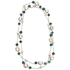 Sterling Silver and Malachite Ball Chain Necklace