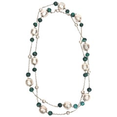 Sterling Silver and Malachite Beaded Chain Necklace