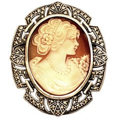 Sterling Silver and Marcasite Cameo Pin / Pendant