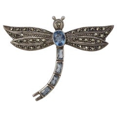 Sterling Silver and Marcasite Dragonfly Brooch with Blue Glass Stones